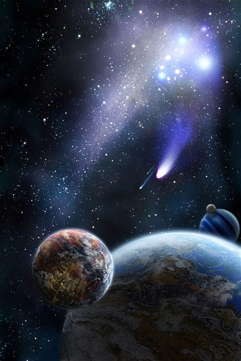planeta  cometa en el espacio iphone xgs