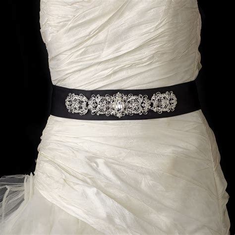 Vintage Rhinestone Crystal Wedding Sash Bridal Black Belt 25
