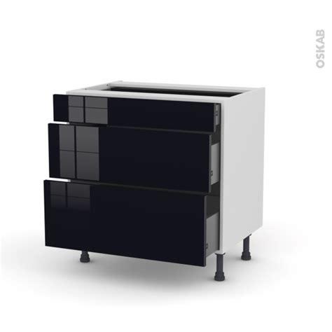 meuble de cuisine noir meuble de cuisine casserolier keria noir 3 tiroirs l80 x h70 x p58 cm oskab