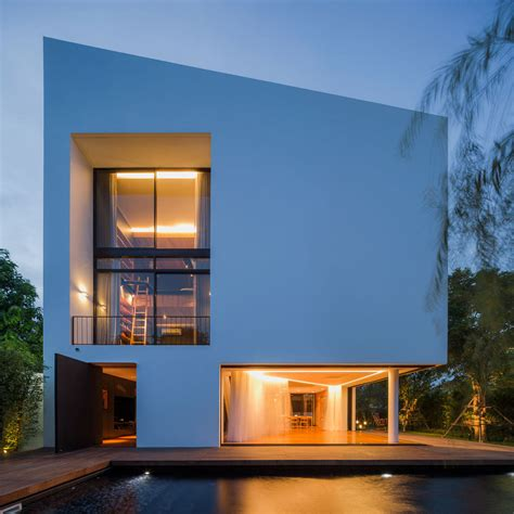 architect home design modern white house with integrated angles and corners