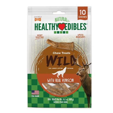 nylabone healthy edibles edible antler real venison dog