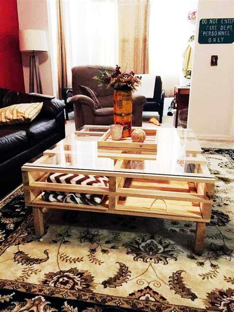 Thomas round side table with storage round coffee table modern coffee table furniture wood side table living room. Pallet Coffee Table with Glass Top & Storage | 101 Pallets