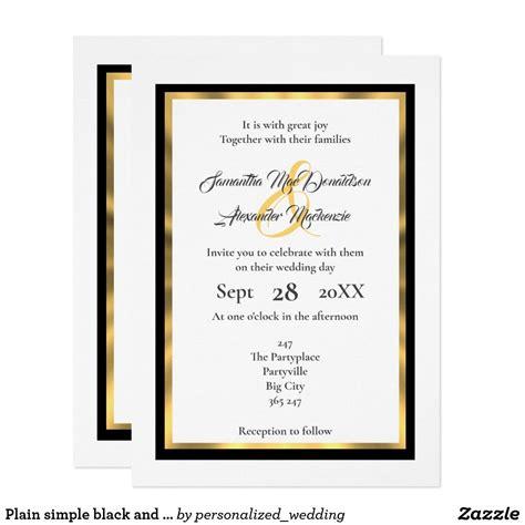 Plain simple minimalist black and gold border wedding #