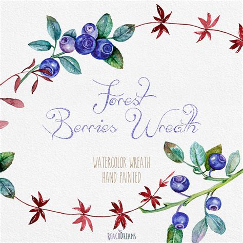 Blueberries Wreath Watercolor PNG files Hand Painted