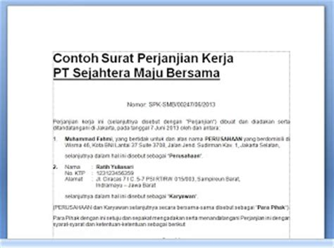 contoh surat perjanjian kerja kontrak kerja