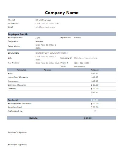 Excel payroll templates help you to quickly calculate your employees' income, withholdings, and payroll taxes. Excel Pay Slip Template Singapore / 6 Payslip Template Excel south Africa - Excel Templates ...