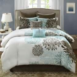 anya 8 piece floral print bedding set blue brown house