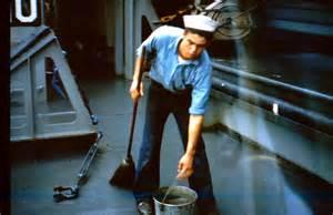 shipmate swabbing the deck 1962 navy uss calvert apa 32