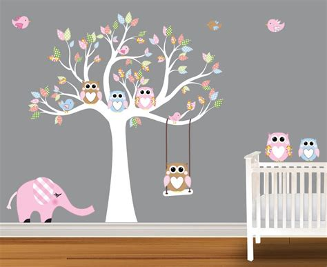 stickers elephant chambre bébé baby wall decals nursery wall decals birch trees
