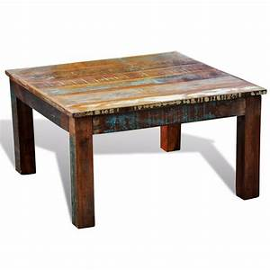 reclaimed wood coffee table square antique style vidaxlcom With reclaimed pine wood coffee table