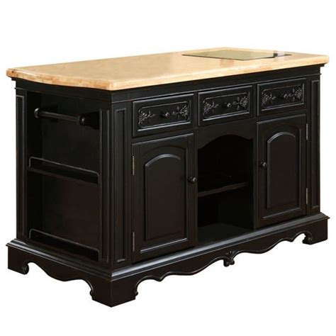 Pennfield Kitchen Island & Stool in Distressed Black Base