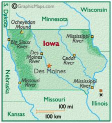 map  iowa  surrounding states  travel information