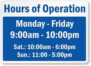 business hours signs With hours of operation template microsoft word