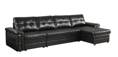 Black Leather Sleeper Sofa by Coaster 500527 Black Leather Sectional Sleeper Sofa