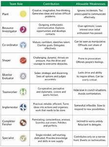 Belbin Chart Belbin Team Role Summary Descriptions Management