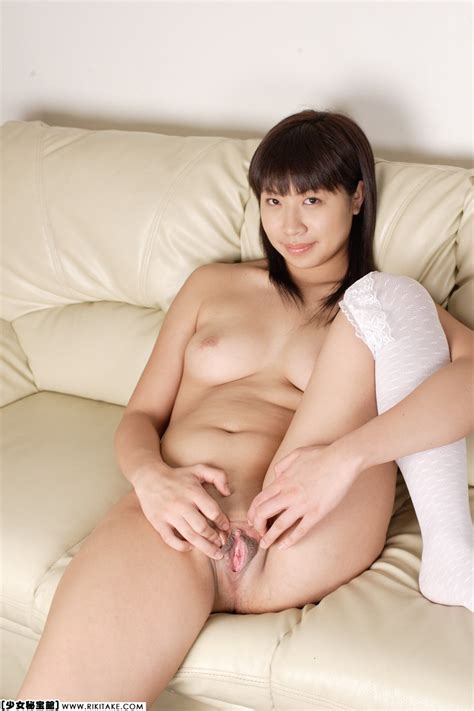 1girl Asian Clitoris Couch Highres Indoors Looking At