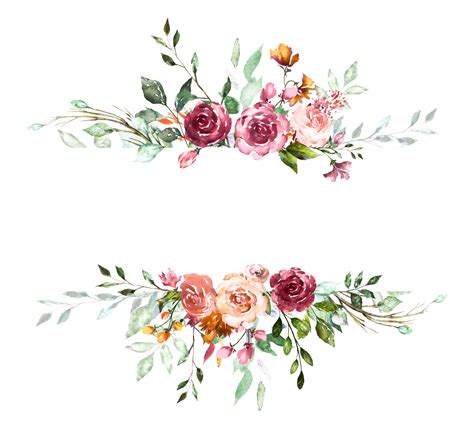 H804 (37) Flower frame Watercolor background