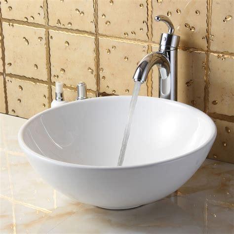 elite bathroom white ceramic vessel sink chrome