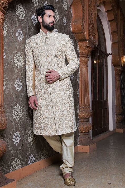 samyakk offwhite silk embroidered indowestern sherwani