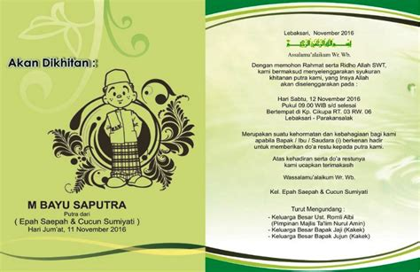 Undangan Untuk Teman by Kumpulan Contoh Desain Undangan Walimatul Khitan Sunatan