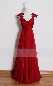 red lace prom dresslong empire waist bridesmaid dresses With red dress for wedding party