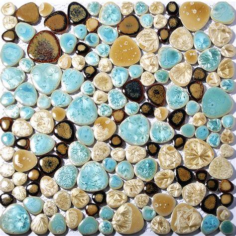 burks turquoise floor l pebble porcelain tile fambe turquoise beige shower floor