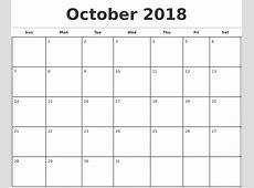October 2018 Calendar Template free printable calendars 2018