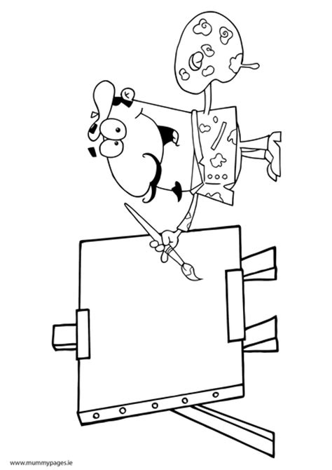 artist  easel colouring page mummypagesmummypagesie