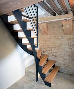 Escalier 1 4 Tournant Droit : escalier quart tournant cr maill re acier ral ~ Dallasstarsshop.com Idées de Décoration