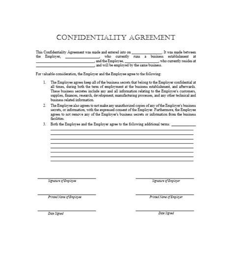 employee confidentiality agreement business forms 41 free non disclosure agreement templates sles
