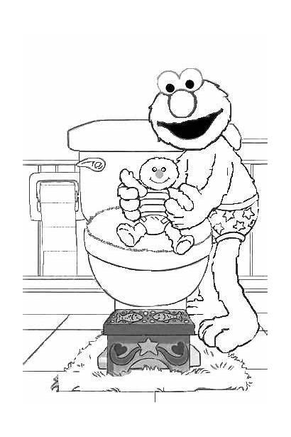 Potty Elmo Training Coloring Pages Colouring Toilet