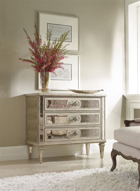 living room accents  drawer antique mirrored chest