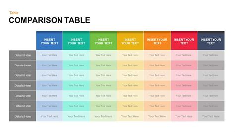 powerpoint table template comparison table powerpoint template and keynote slide
