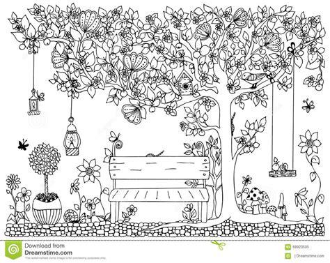 Vector Illustration Zentangle Park Garden Spring Bench