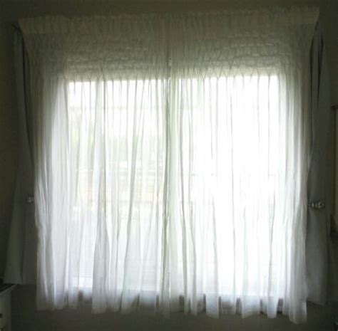 pottery barn smocked sheer organic cotton white curtains