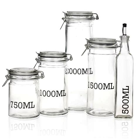 Kitchen Jars Ebay by Large Glass Storage Jar With Air Tight Sealed Metal Cl