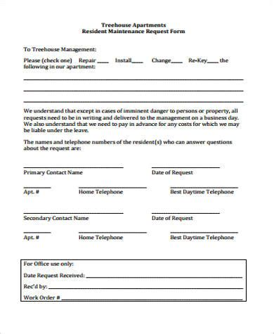 apartment maintenance forms 11 sle maintenance request forms sle templates
