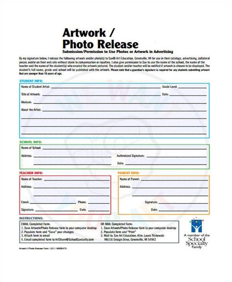 FREE 9+ Sample Artwork Release Forms in PDF   MS Word
