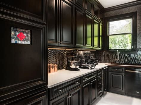 black kitchen backsplash black kitchens are the new white hgtv s decorating 1684