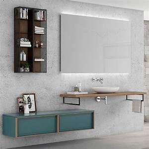 beautiful meuble salle de bain bleu gallery seiunkelus With miroir de salle de bain bois