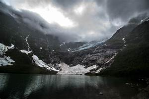 Nature, Landscape, Glaciers, Lake, Mountain, Dark, Clouds, Creeks, Norway, Wallpapers, Hd