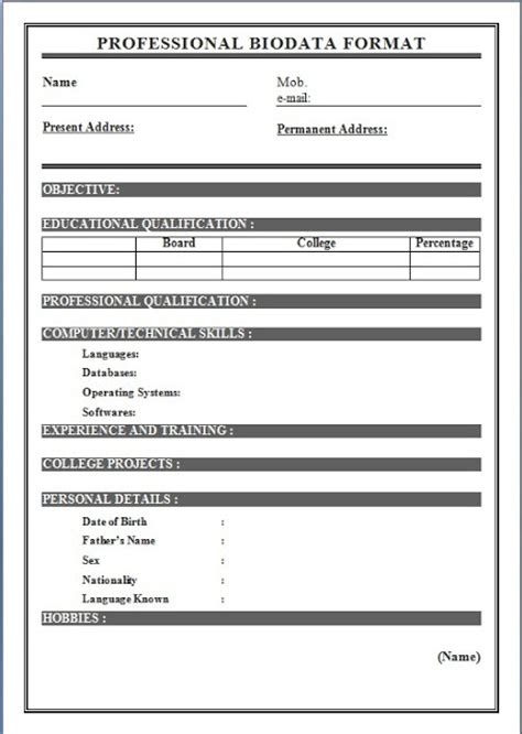 biodata format  job application  sample