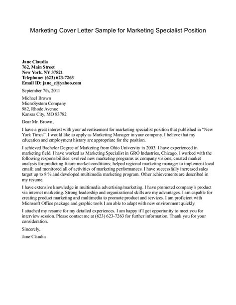 Marketing Cover Letter Uk by Marketing Specialist Cover Letter Templates At