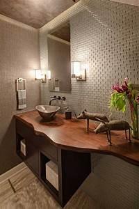 Plan Vasque Bois Brut : plan vasque bois brut dans la salle de toilette osez le style live edge sdb pinterest ~ Teatrodelosmanantiales.com Idées de Décoration