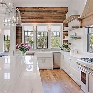 Farmhouse kitchens with fixer upper style farmhouse for Kitchen colors with white cabinets with wooden wall art signs
