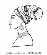 Woman African Turban Animation Afrikaanse Portrait Jonge Young Coloring Drawing Animatieportret Tulband Vrouw Mulher Template Profiel Mening Het Africana Reeks sketch template