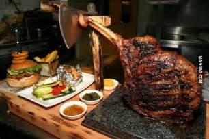 Black angus tomahawk steak in Slovenia. - 9GAG