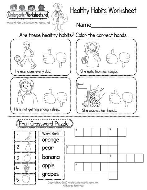 printable healthy habits worksheet  kindergarten