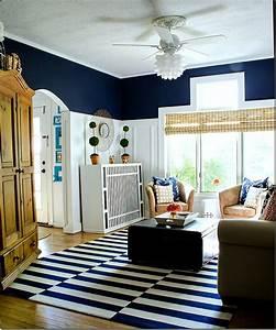 Navy, And, White, Board, U0026, Batten, Living, Room, Design