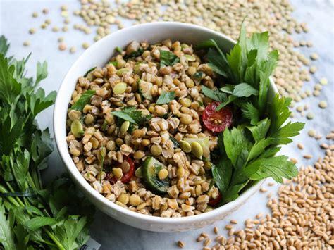 herbed green lentil  farro salad   bowl